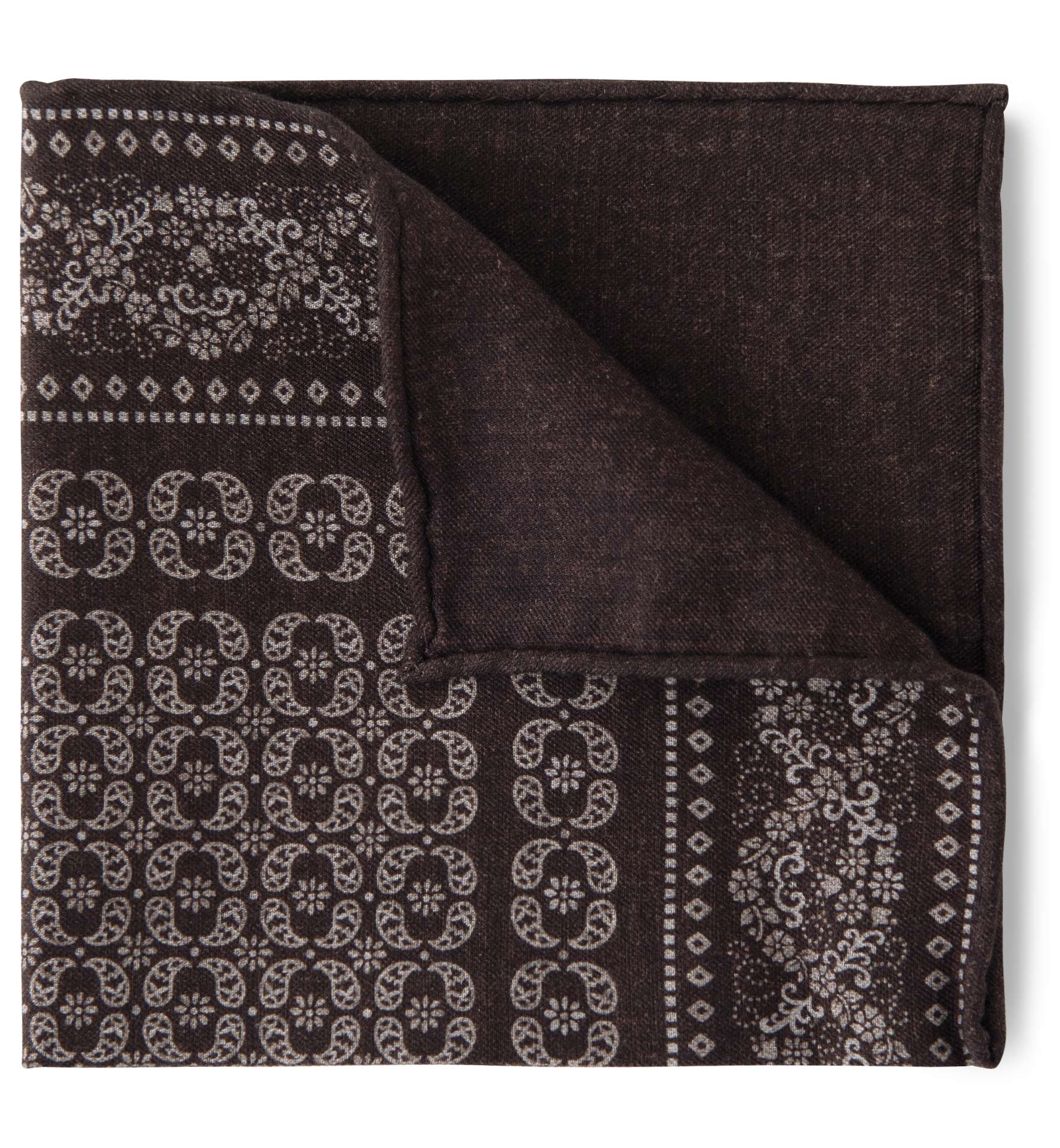 Zoom Image of Dark Brown Floral Print Pocket Square
