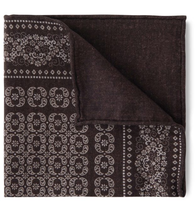 Dark Brown Floral Print Pocket Square