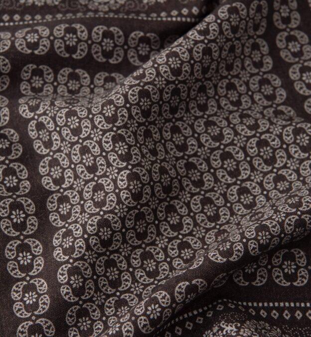 Dark Brown Floral Print Pocket Square