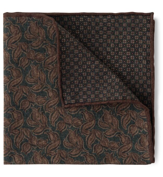 Green and Brown Floral Print Pocket Square