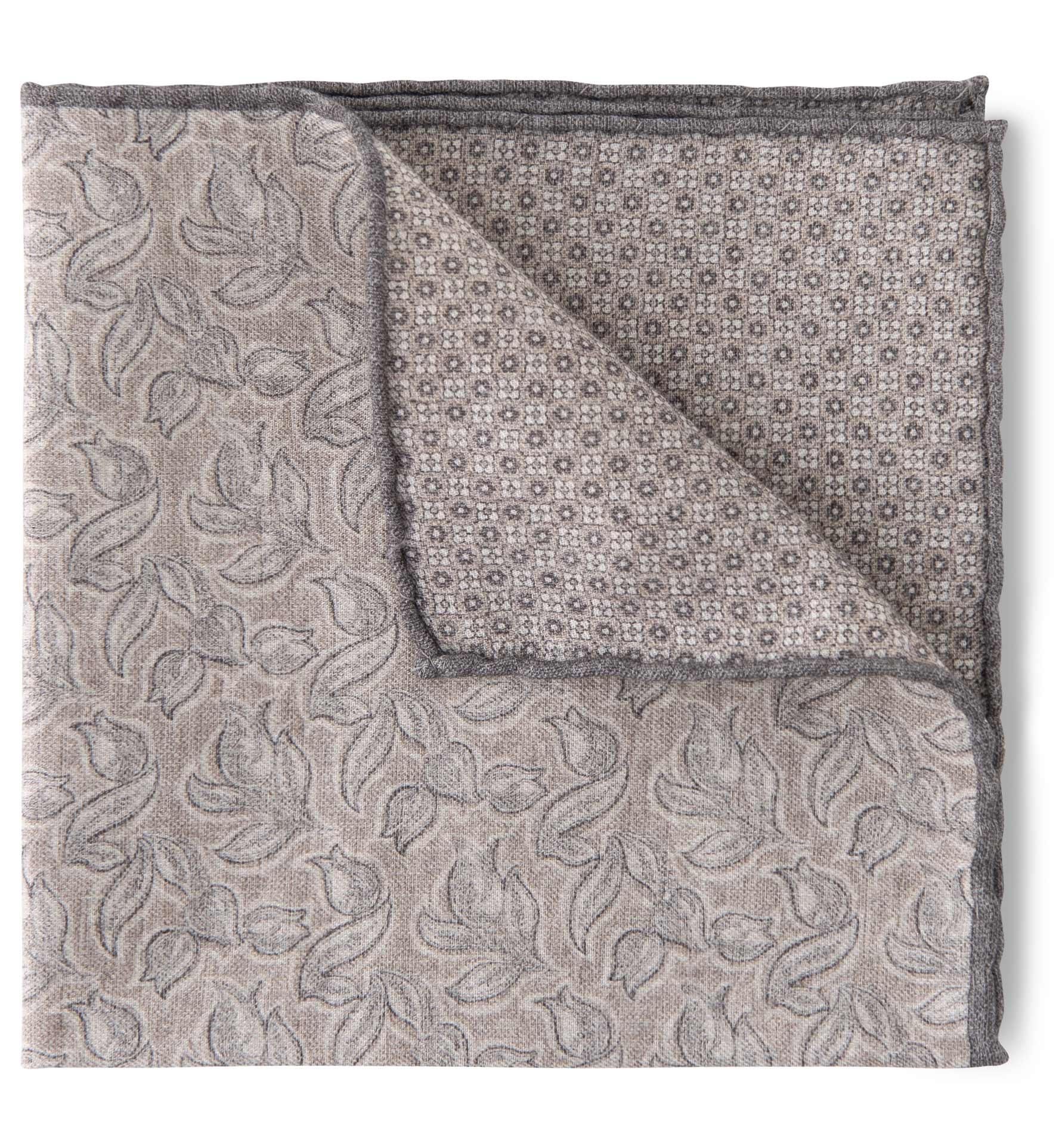 Zoom Image of Light Grey and Beige Floral Print Pocket Square