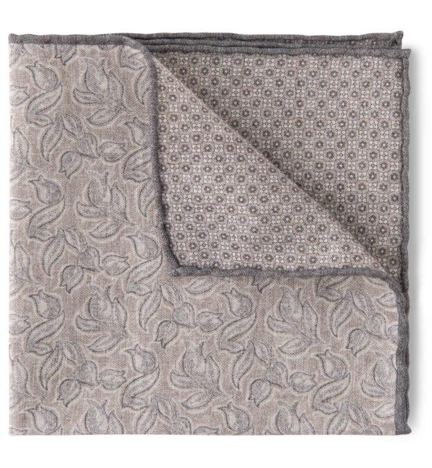 Light Grey and Beige Floral Print Pocket Square