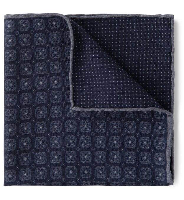 Navy Foulard Print Cotton and Wool Pocket Square