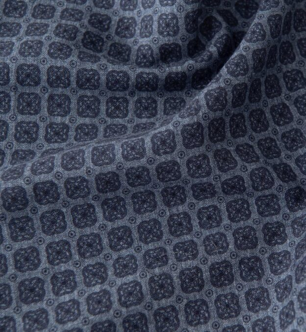 Faded Blue Foulard Print Cotton and Wool Pocket Square