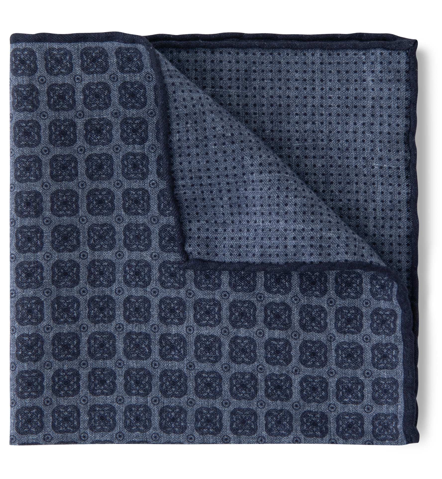 Zoom Image of Faded Blue Foulard Print Cotton and Wool Pocket Square
