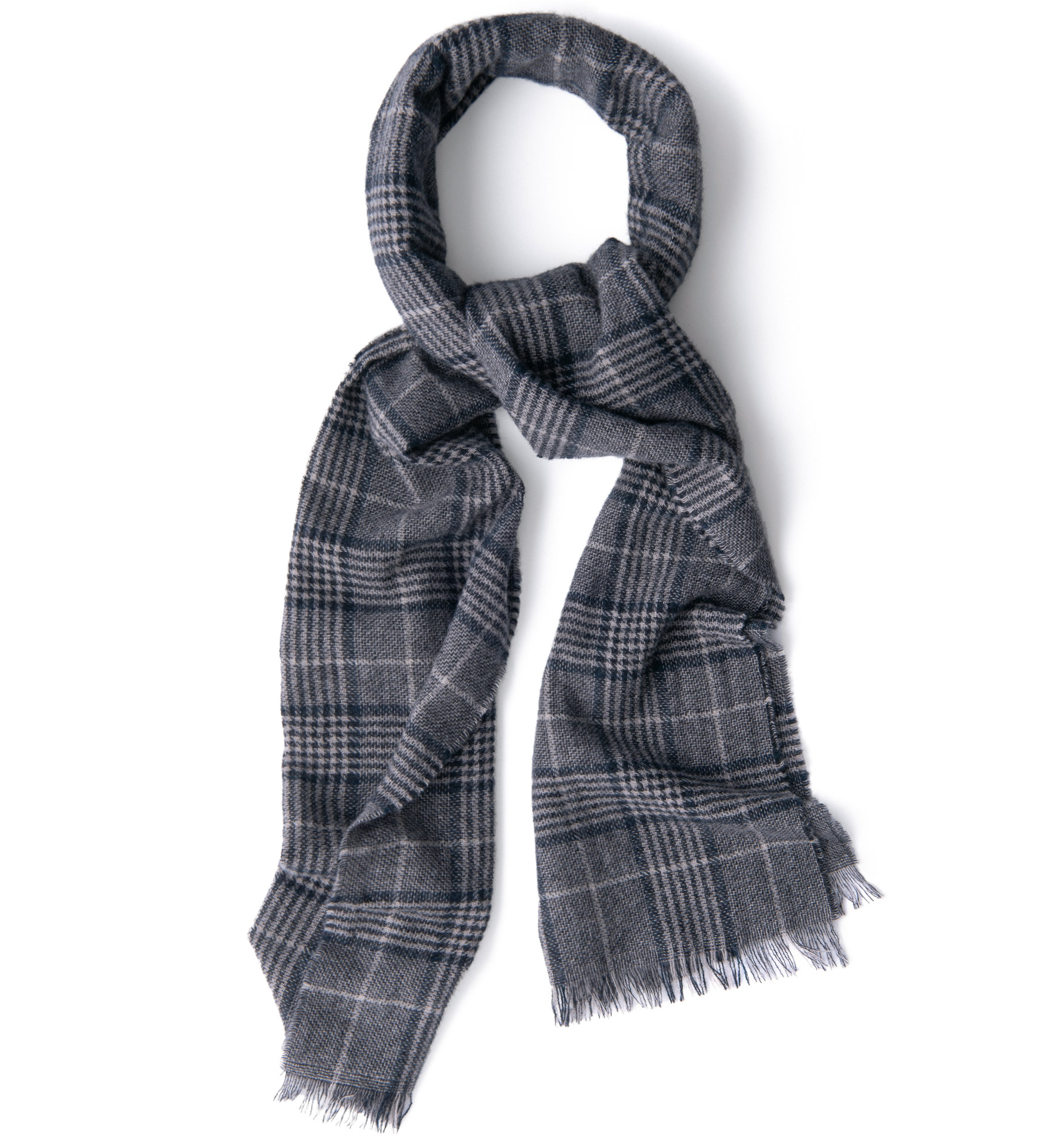 Zoom Image of Grey and Navy Large Plaid Cashmere Scarf