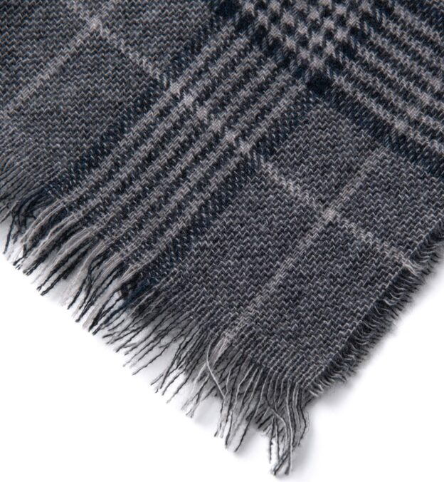 Grey and Navy Large Plaid Cashmere Scarf
