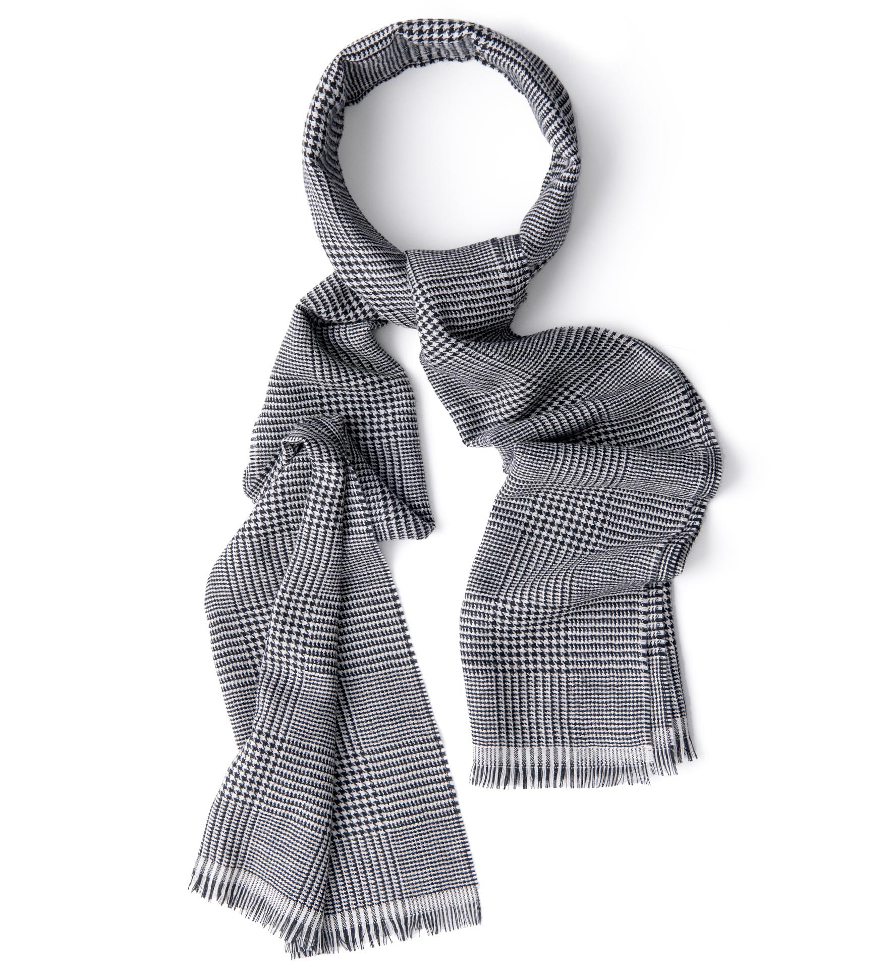 Zoom Image of Black and White Glen Plaid Wool Scarf