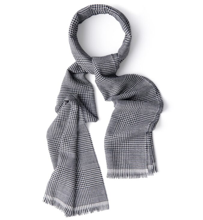 Black and White Glen Plaid Wool Scarf
