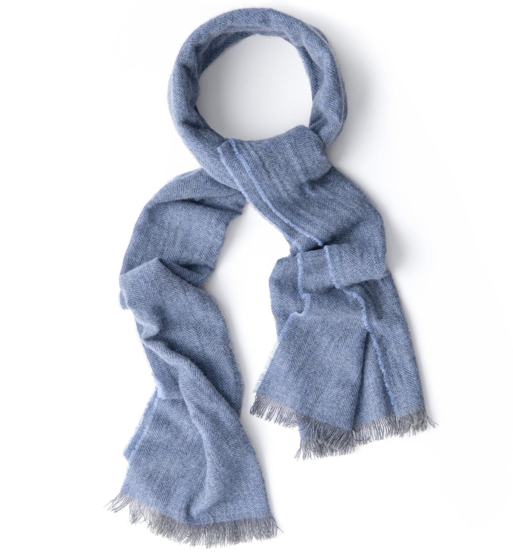 Zoom Image of Light Blue Cashmere Herringbone Scarf