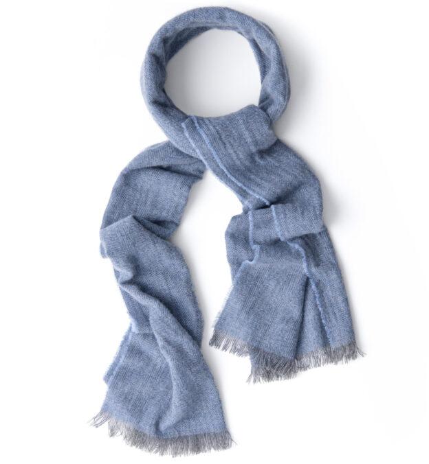 Light Blue Cashmere Herringbone Scarf