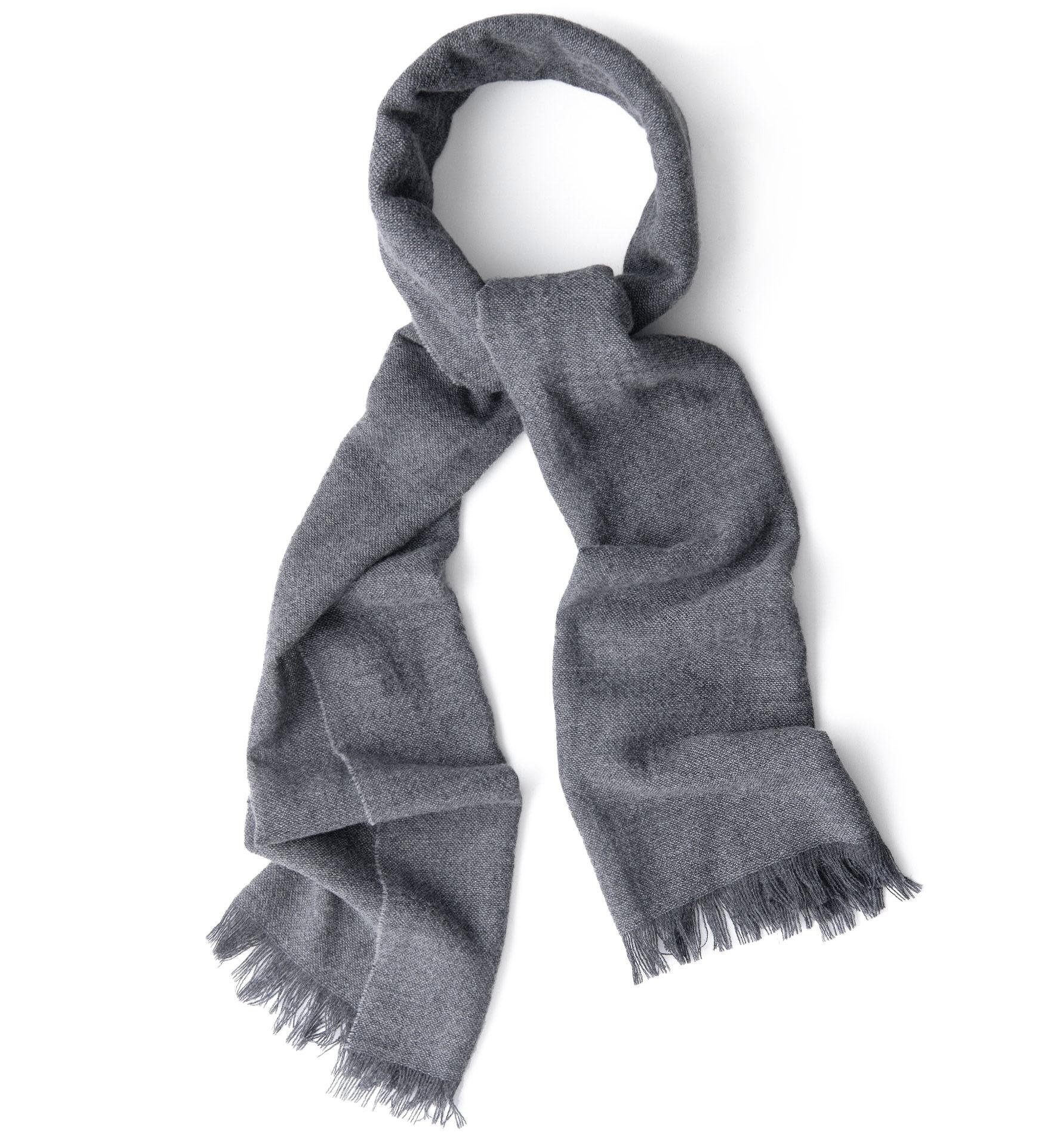 Zoom Image of Grey Wool Gauze Scarf