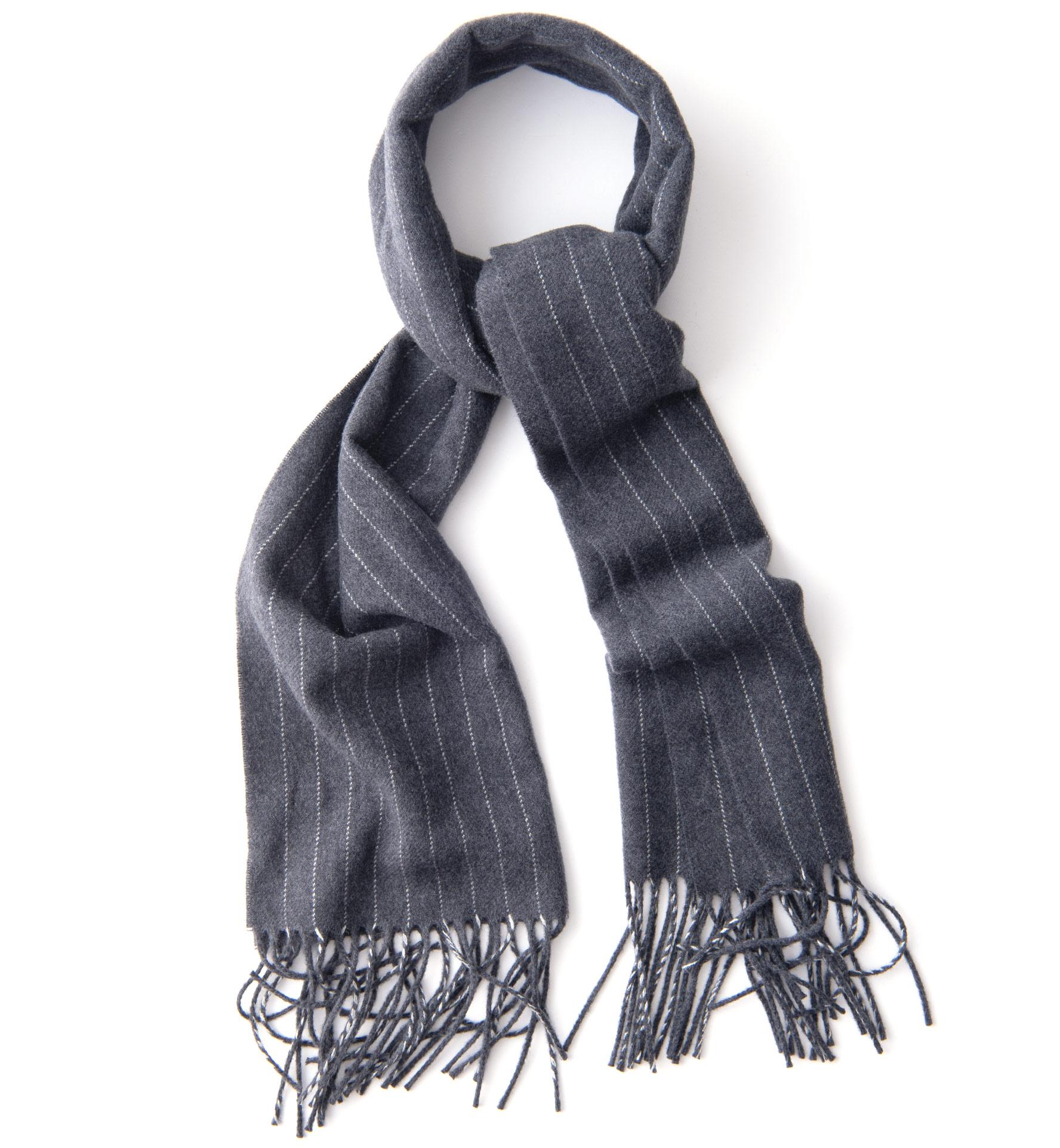 Zoom Image of Grey Wool Pinstripe Scarf