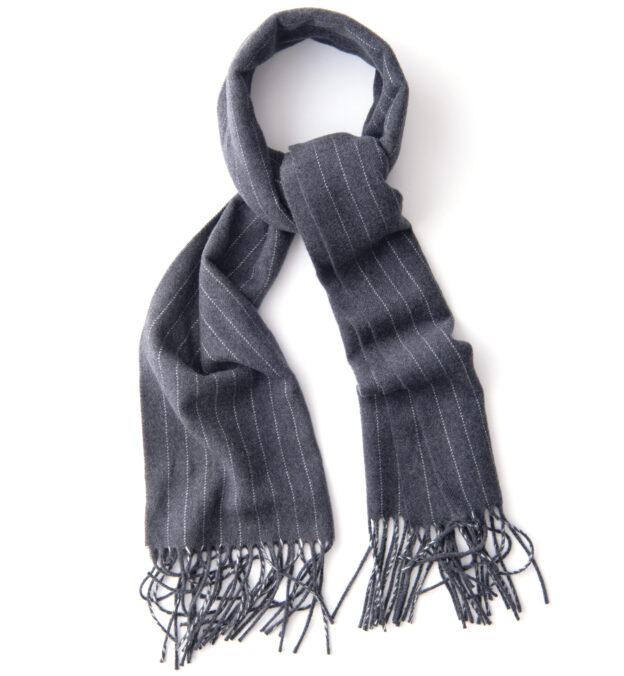 Grey Wool Pinstripe Scarf