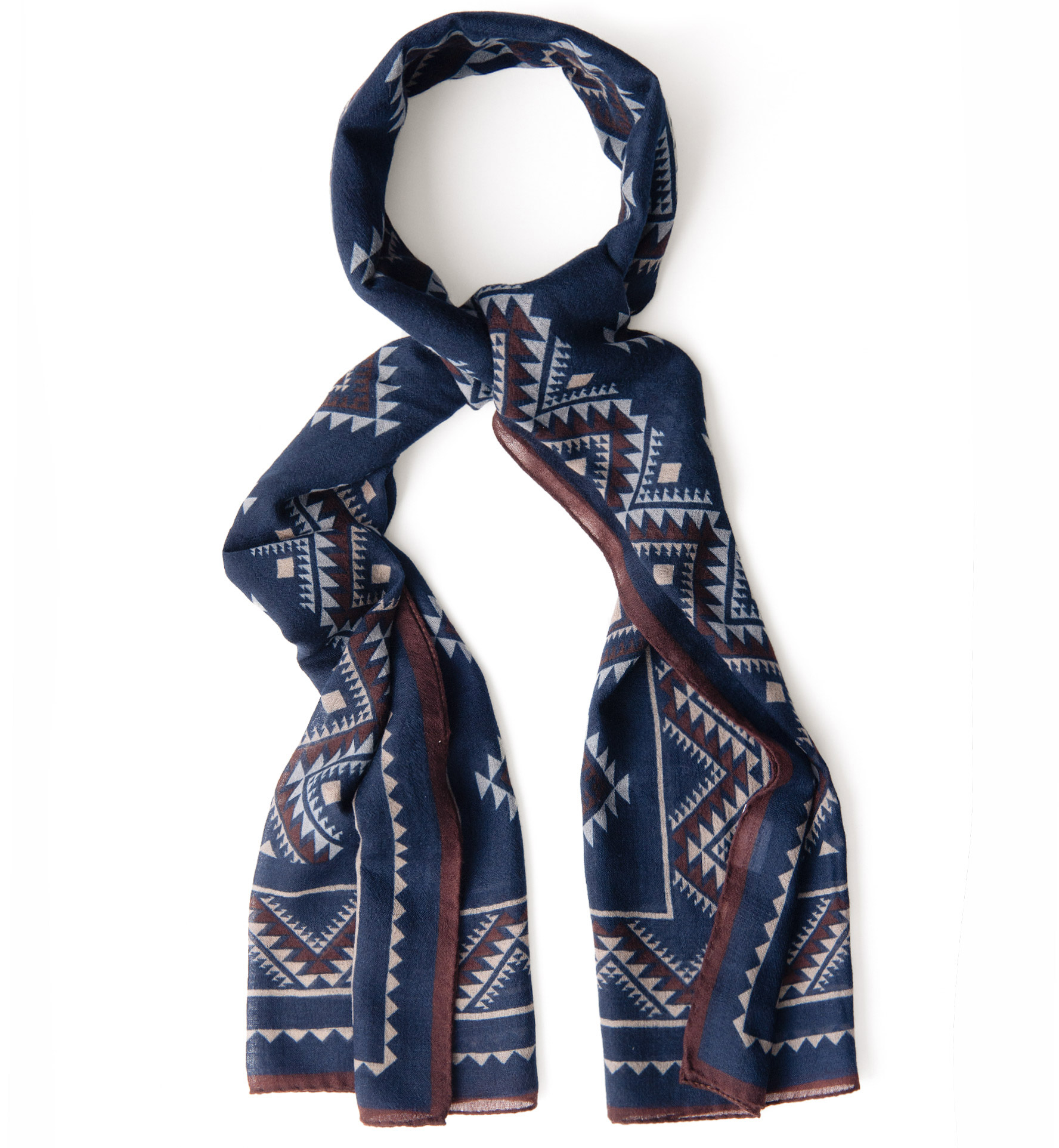 Zoom Image of Navy Southwest Lightweight Wool Scarf