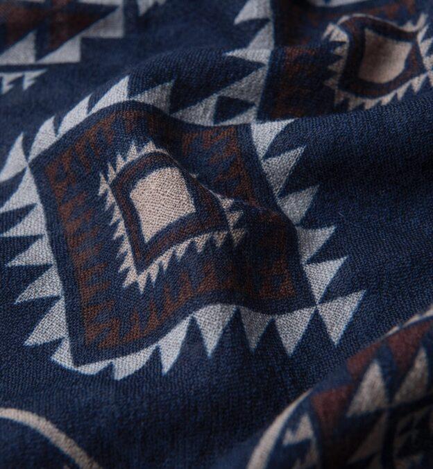 Navy Southwest Lightweight Wool Scarf