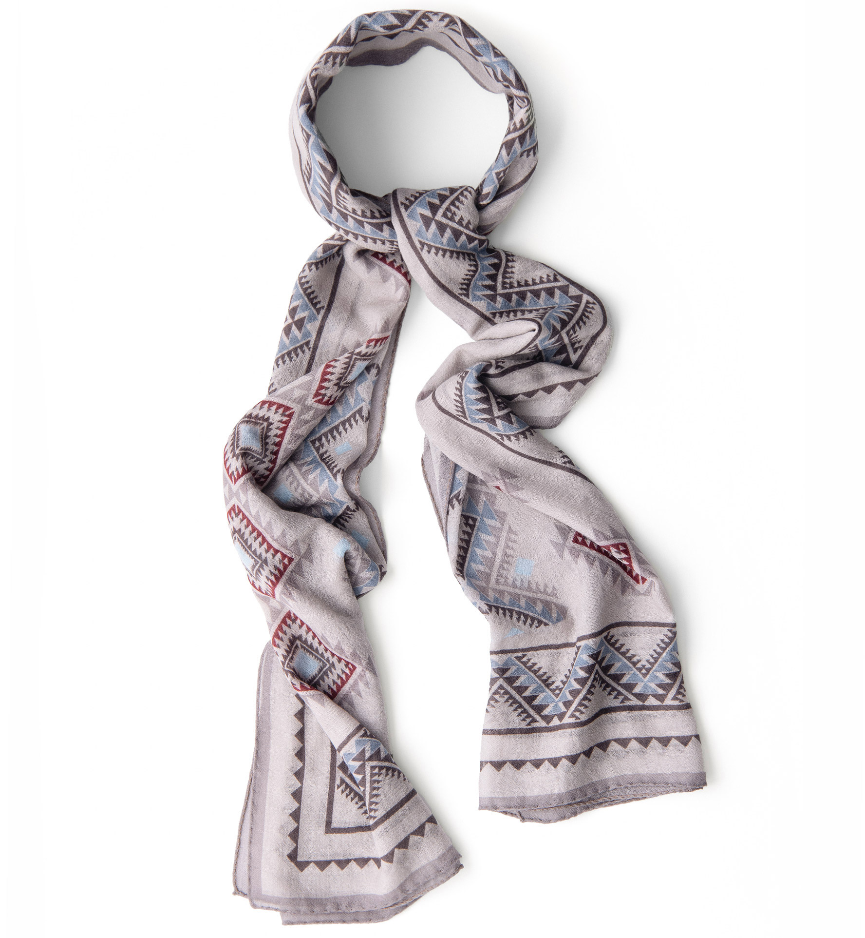 Zoom Image of Light Grey Southwest Lightweight Wool Scarf