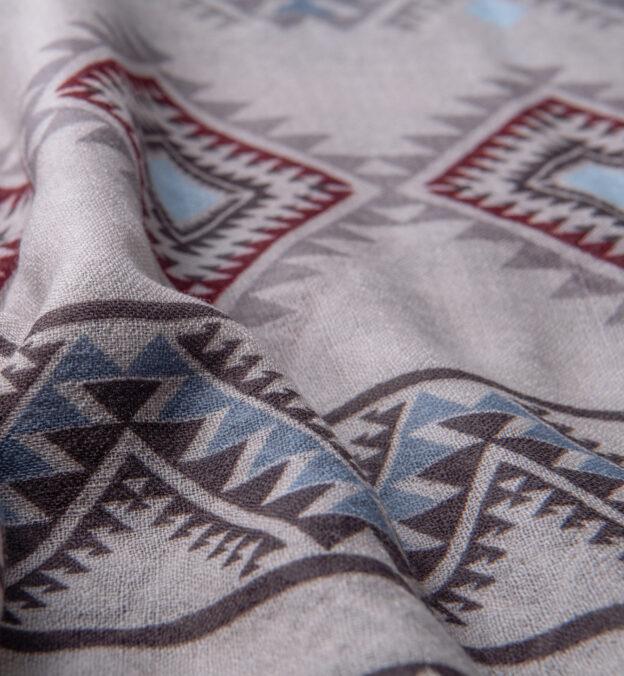 Light Grey Southwest Lightweight Wool Scarf