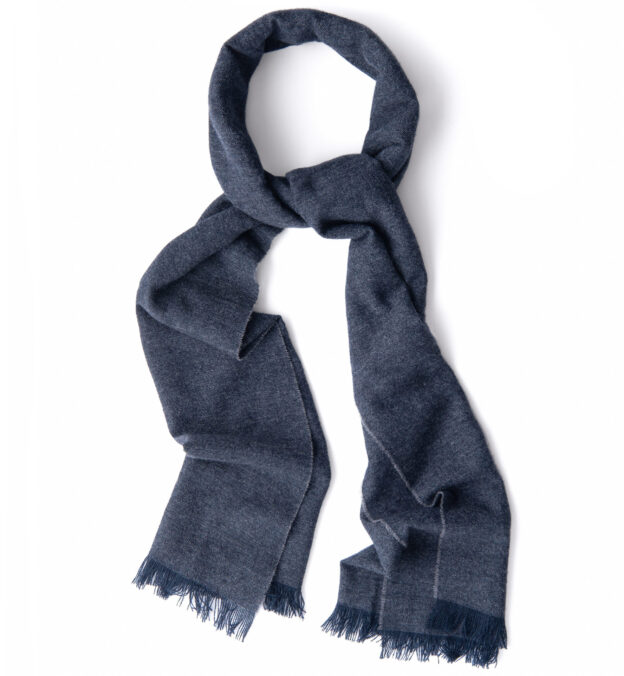 Dark Grey and Blue Cashmere Scarf