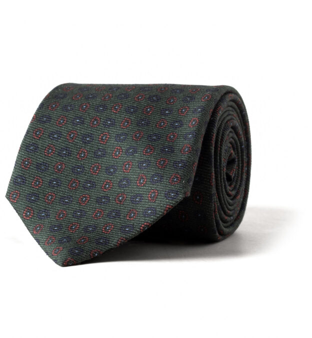 Green and Blue Small Paisley Print Tie