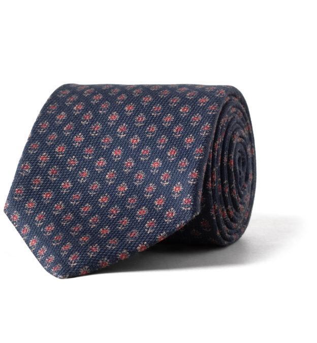 Navy Indian Block Print Silk Tie