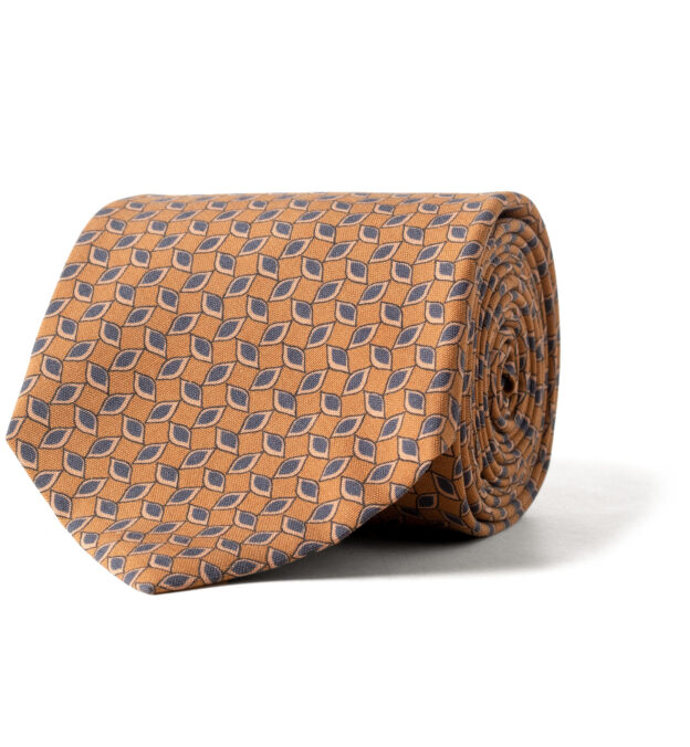 Amber and Blue Printed Silk Tie