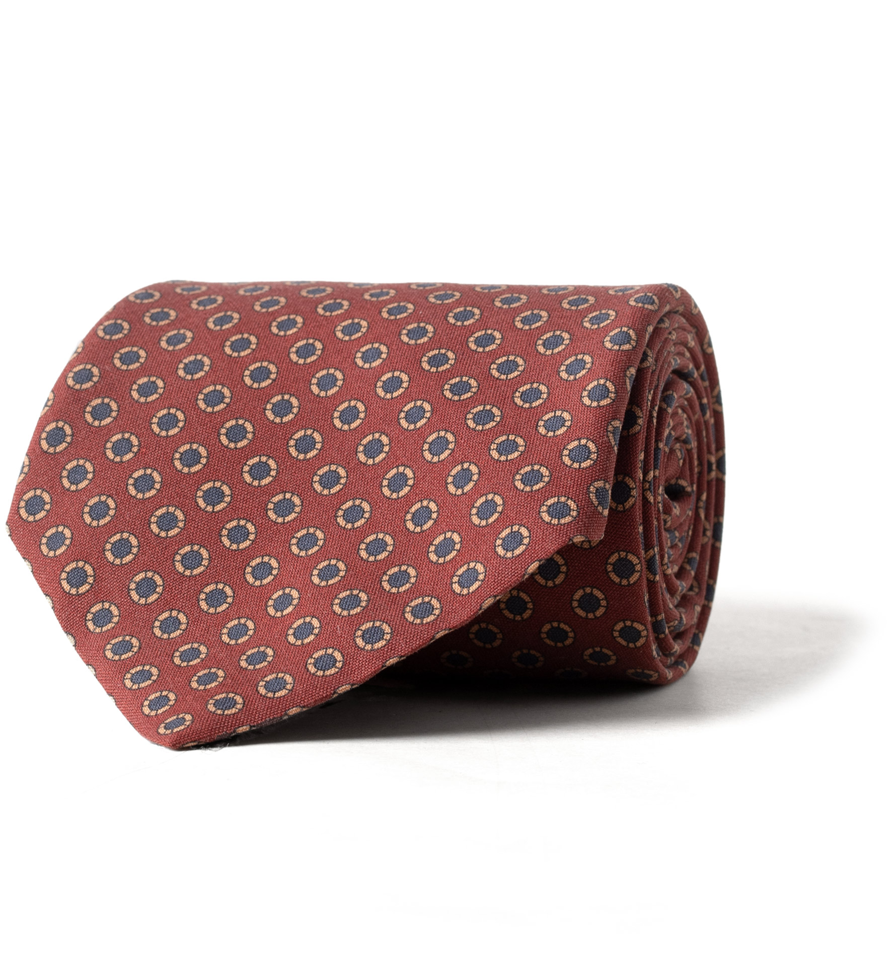 Zoom Image of Brick Red Small Circle Print Silk Tie