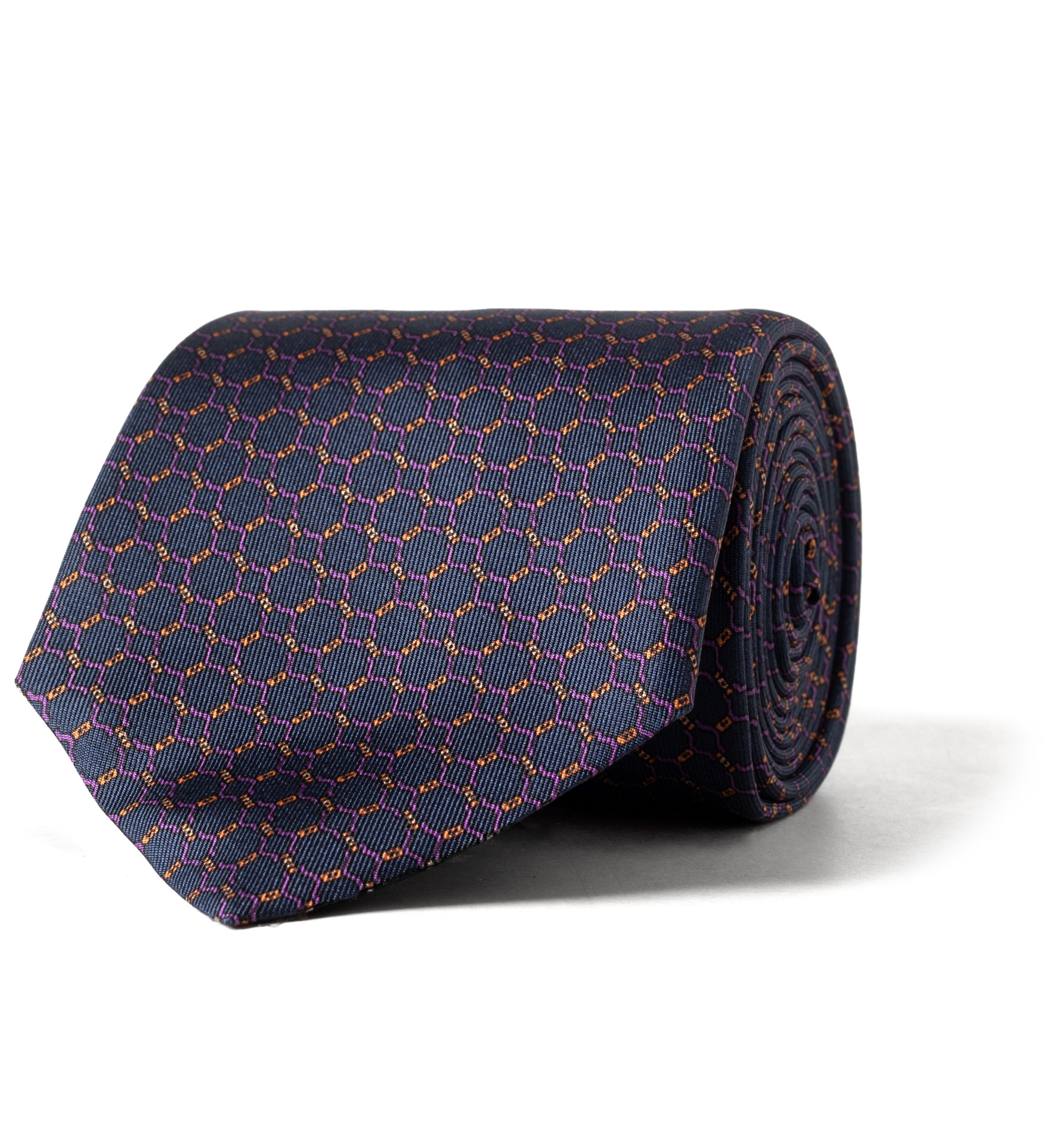 Zoom Image of Navy and Purple Chainlink Print Silk Tie