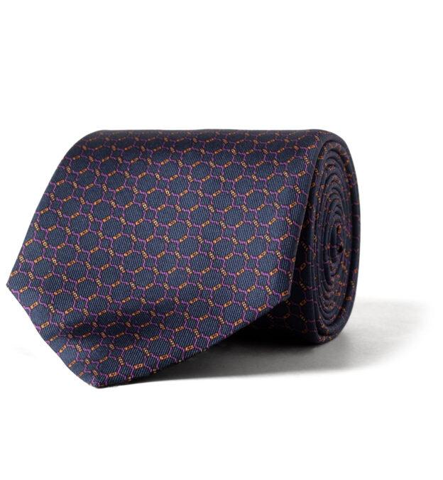 Navy and Purple Chainlink Print Silk Tie