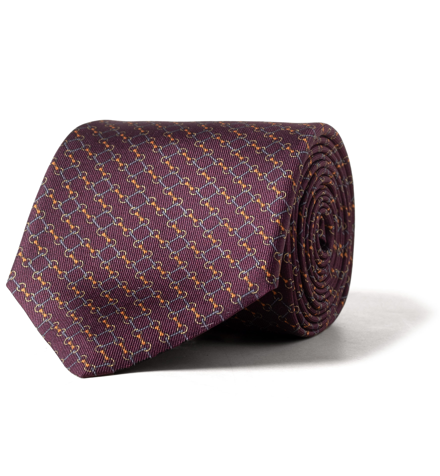 Zoom Image of Burgundy and Gold Bit Link Print Silk Tie