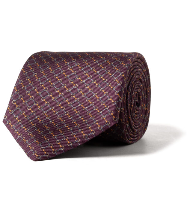 Burgundy and Gold Bit Link Print Silk Tie