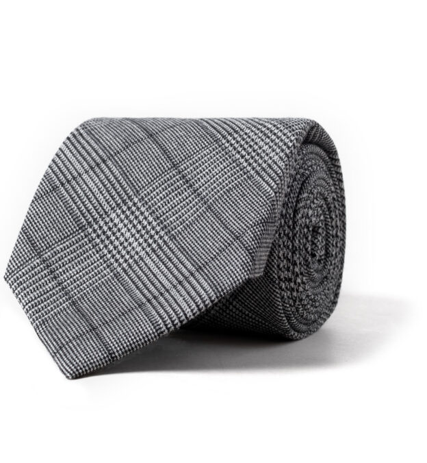 Grey Prince of Wales Check Wool Tie