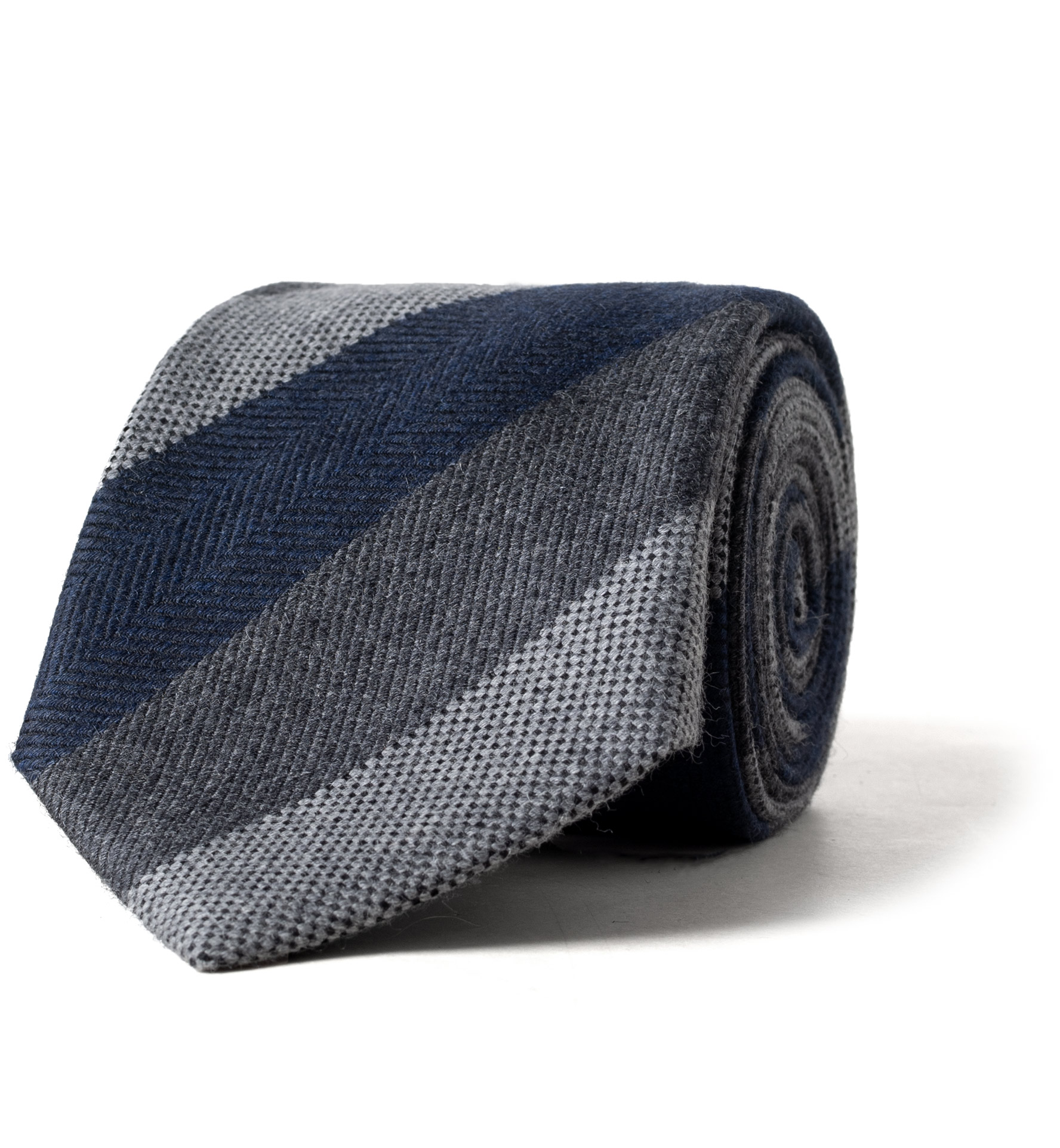 Zoom Image of Navy and Grey Multi Stripe Wool and Silk Tie