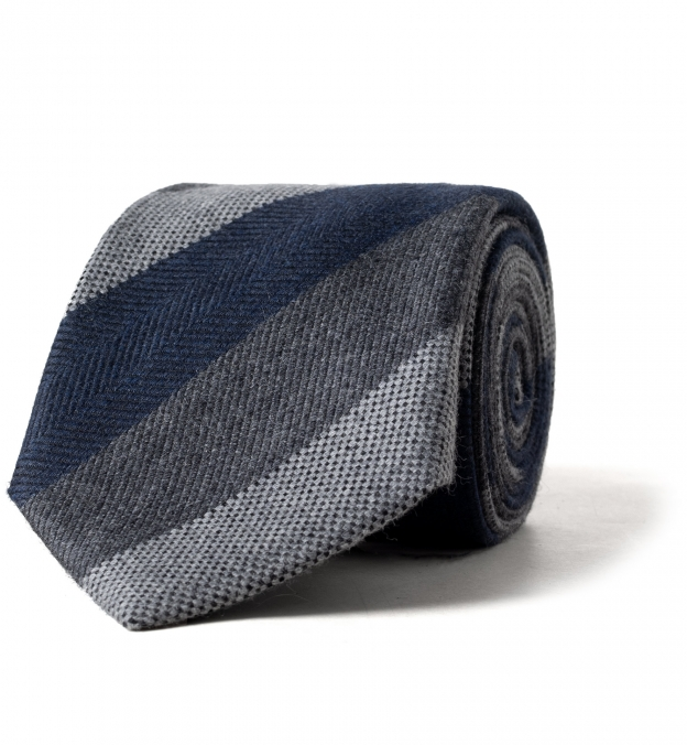 Navy and Grey Multi Stripe Wool and Silk Tie