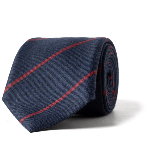Navy and Scarlet Striped Wool and Silk Tie