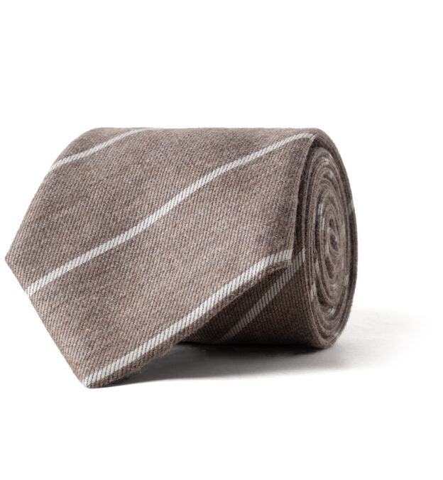 Sandstone and Light Grey Striped Wool and Silk Tie