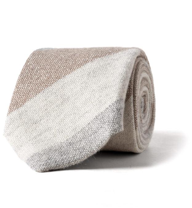 Beige Wide Multi Stripe Cashmere Tie