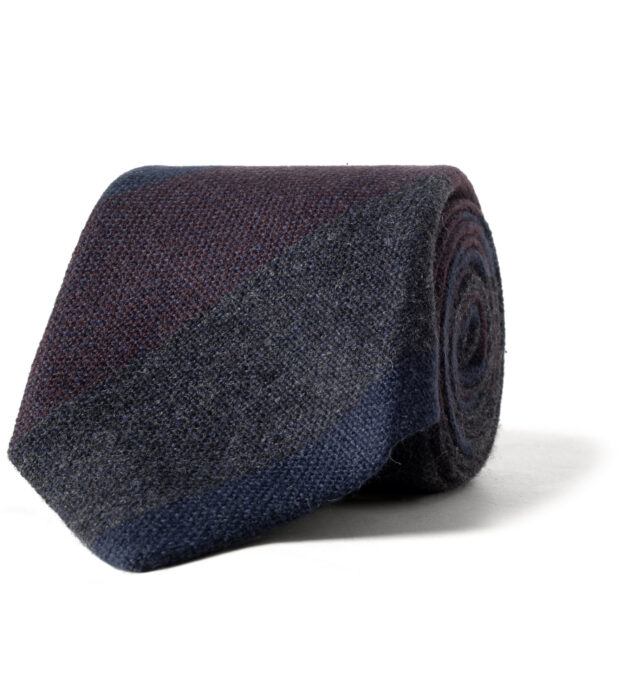 Navy Charcoal and Burgundy Wide Multi Stripe Cashmere Tie