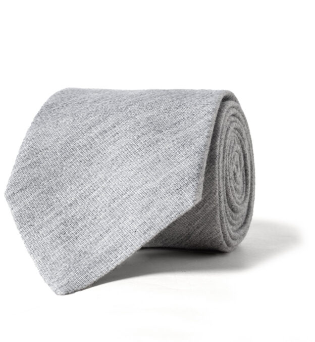 Light Grey Cashmere and Silk Tie