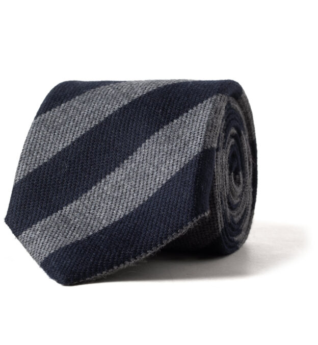 Navy and Grey Striped Wool and Silk Tie