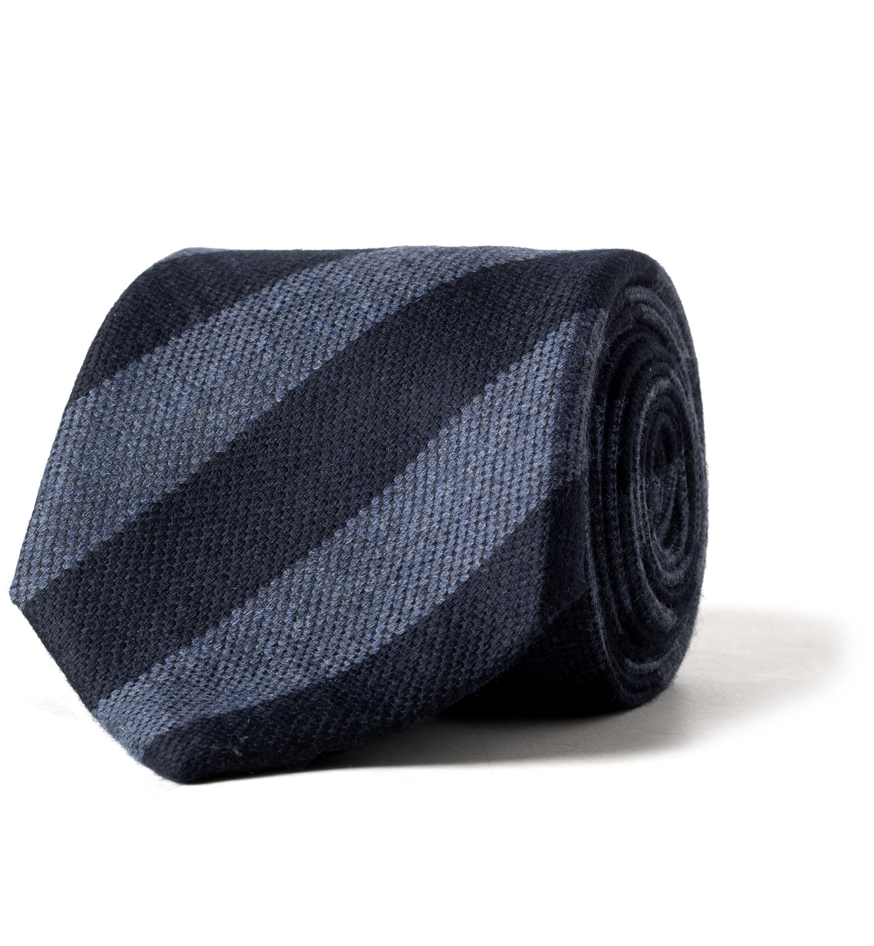 Zoom Image of Navy and Light Blue Wool and Silk Striped Tie