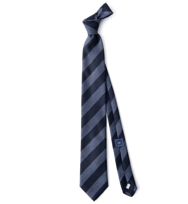 Navy and Light Blue Wool and Silk Striped Tie
