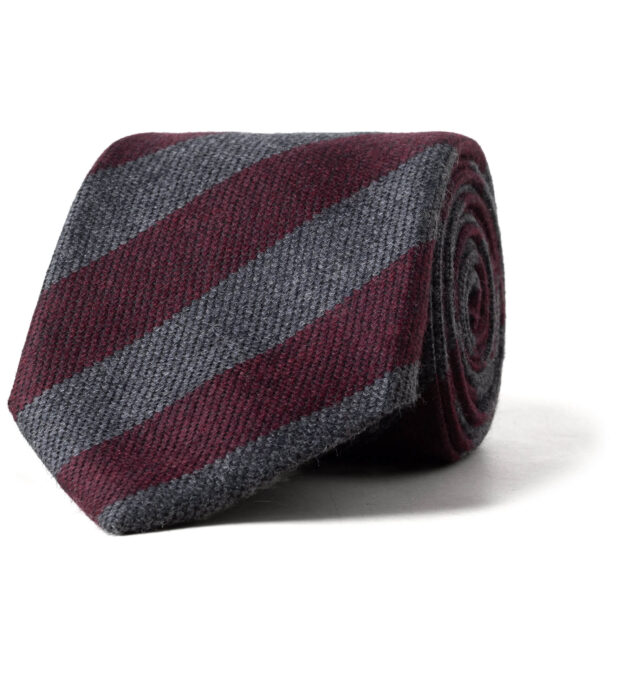 Burgundy and Grey Striped Wool and Silk Tie