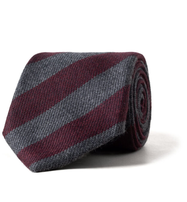 Burgundy and Grey Wool and Silk Striped Tie
