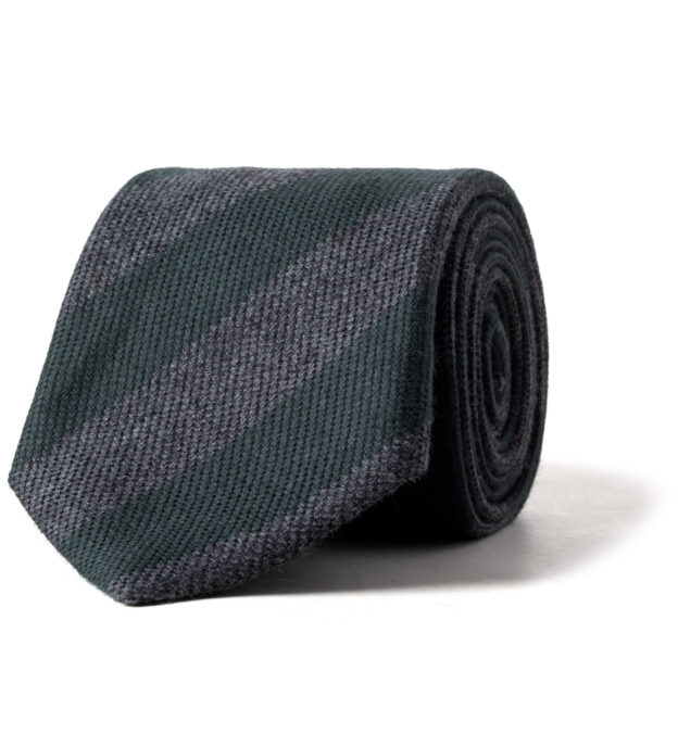 Pine and Grey Wool and Silk Striped Tie