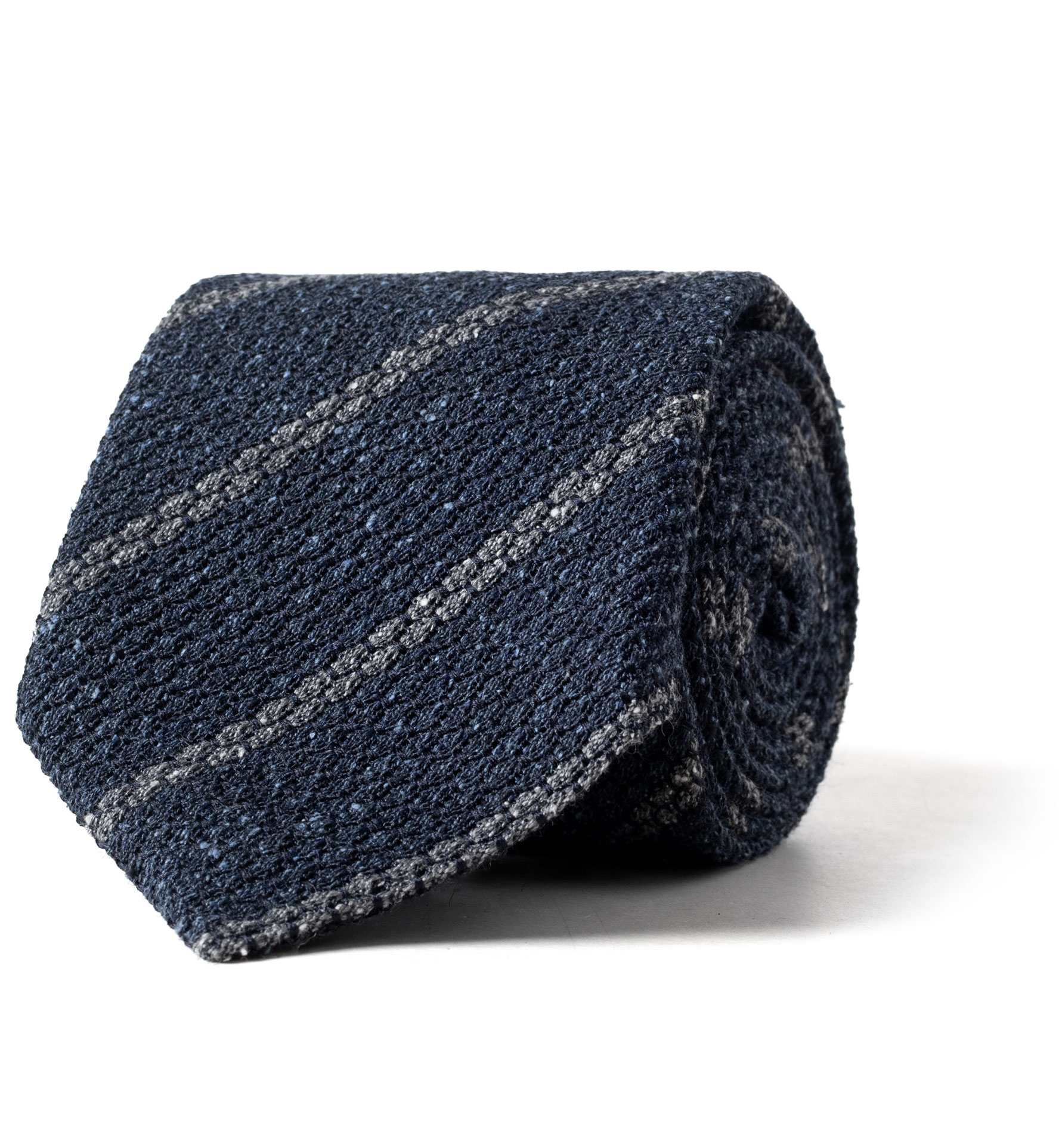 Zoom Image of Blue and Grey Silk and Wool Grenadine Striped Tie