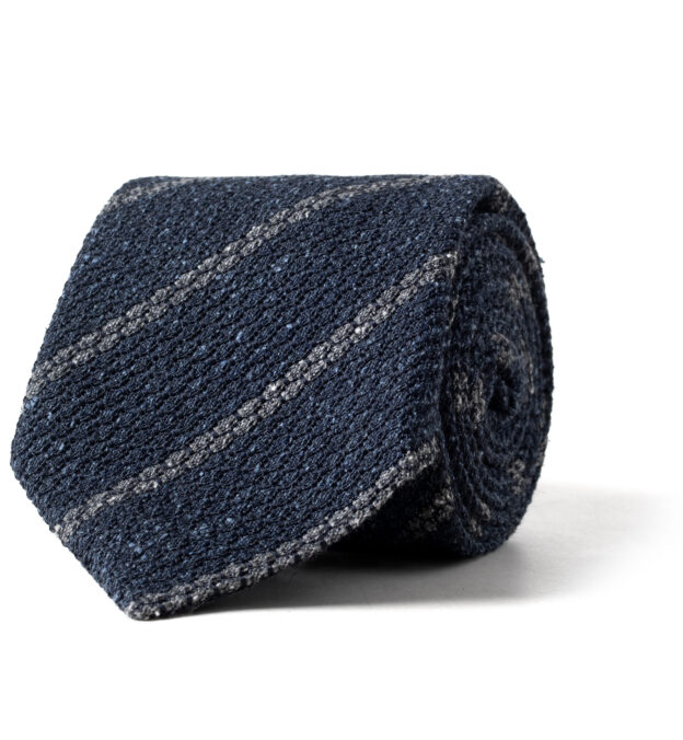 Blue and Grey Silk and Wool Grenadine Striped Tie