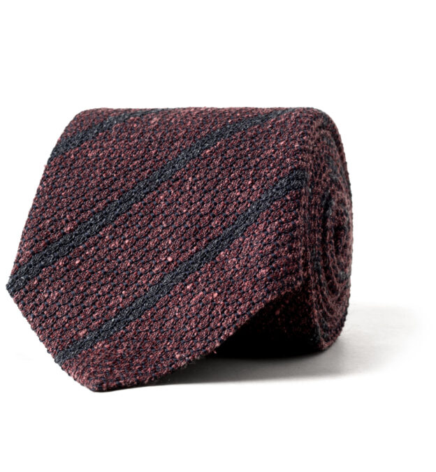 Burgundy and Charcoal Silk and Wool Grenadine Striped Tie