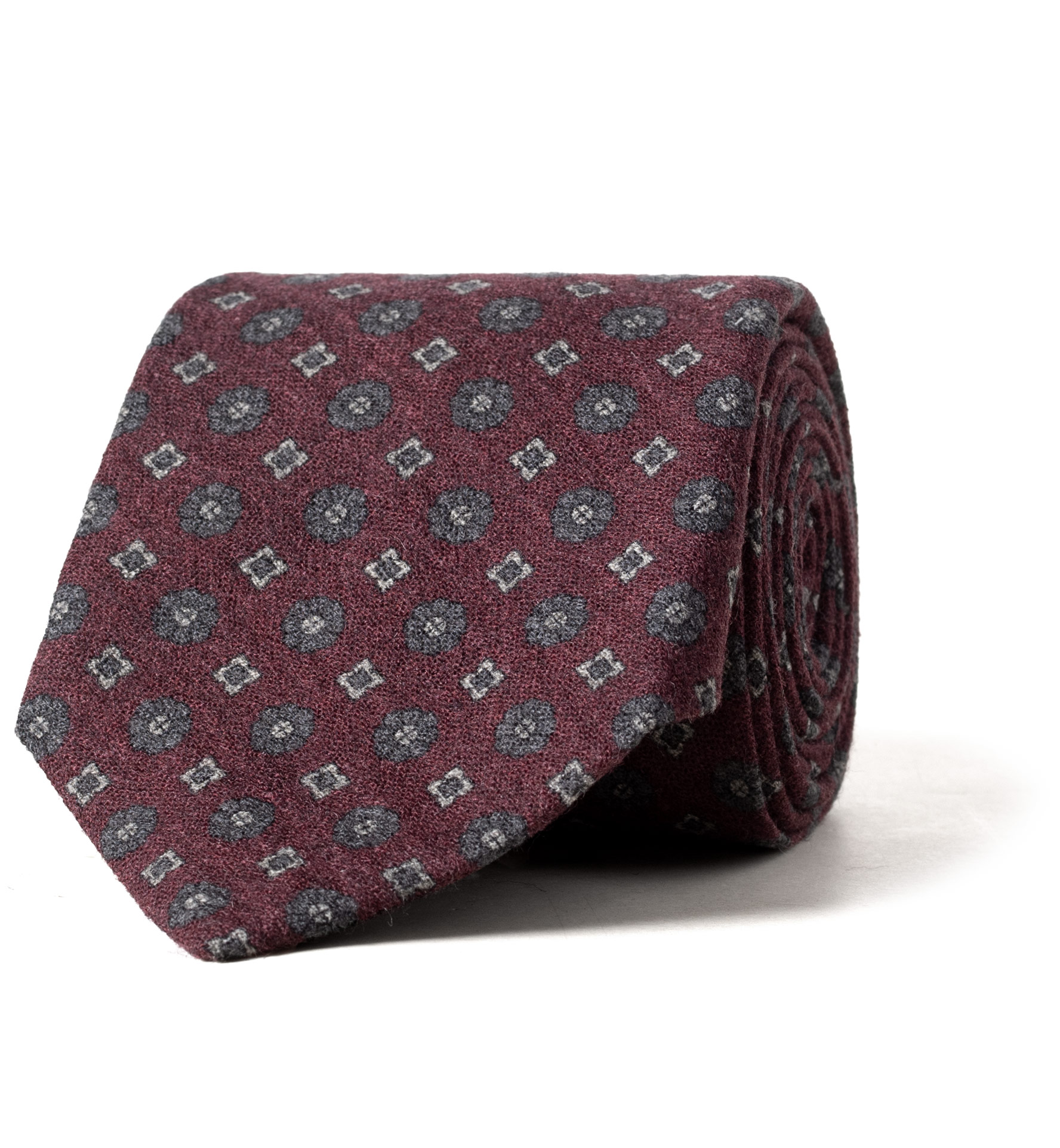 Zoom Image of Burgundy Printed Wool Foulard Tie