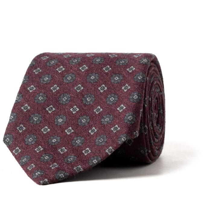 Burgundy Printed Wool Foulard Tie